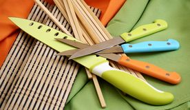 Cooking tools kitchen work chef. Colorful kitchen cooking Tools Chef work Stock Images