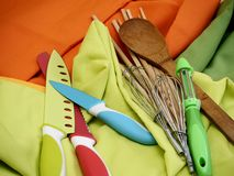 Cooking tools kitchen work chef. Colorful kitchen cooking Tools Chef work Stock Photo
