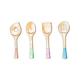 Cooking tools painting by watercolor illustration; food accessory design concept Stock Image