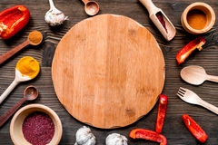 Cooking tools in restoraunt concept on wooden background top view Stock Image