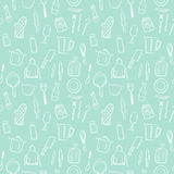 Cooking tools seamless pattern background set Royalty Free Stock Photography