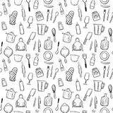 Cooking tools seamless pattern background set. Cooking tools doodle seamless pattern background Stock Images