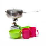 Cooking tourist equipment. During camping on white background Royalty Free Stock Images