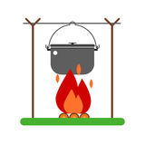 Cooking Tourist Pot on Fire. Campfire place illustration. Barbecue steel bowl on fire  illustration. Hiking bowler pot on fire isolated on white background Stock Images