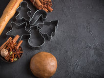 Cooking traditional biscuits and gingerbread. Copy space. Cooking traditional biscuits and gingerbread. Christmas. New year. Dough, cutting the cookies and the Royalty Free Stock Photography