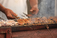 Cooking traditional food kebab in xinjiang. China royalty free stock photography