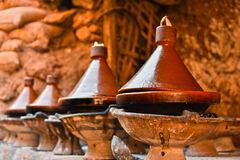 Cooking traditional Moroccan tajine Stock Images