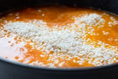 Cooking of traditional spanish seafood paella. Preparation step of traditional spanish seafood paella Stock Photography