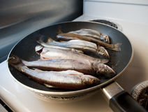 Cooking trouts Stock Photo