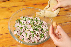 Cooking tuna fish Stock Image