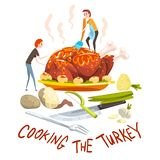 Cooking the turkey, two little men cooking huge festive turkey for Thanksgiving day or Christmas holiday, design element vector illustration