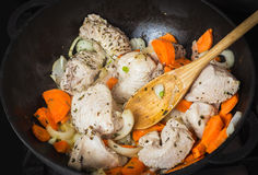 Cooking turkey with vegetables Royalty Free Stock Photography