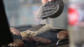 Cooking Turkish kyufta grilled. Restaurant outdoor 2016 stock video