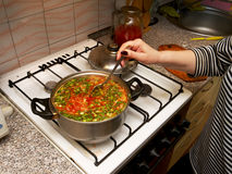 Cooking Ukrainian borsch in a pot Royalty Free Stock Photography