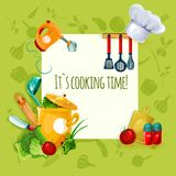 Cooking Utensil Background. Cooking appliances and restaurant utensil and food background vector illustration Royalty Free Stock Photos