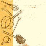 Cooking utensil background. Sketchy, hand drawn kitchen utensils on an abstract background with copy space. The items included are a whisk, potato masher, wooden Royalty Free Stock Images