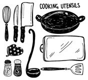 Cooking utensil doodle Royalty Free Stock Image