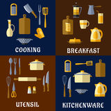 Cooking utensil and kitchenware flat icons. Of pots, kettles, knives, tea and coffee pots, cutting boards, spatulas, forks, spoons, graters, whisks and other Stock Image