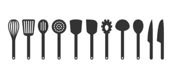 Cooking utensil set of tools. Kitchen tools black isolated vector icons. Slotted turner, spoon, knives, whisk, pasta server icons stock illustration
