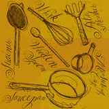 Cooking Utensils with calligraphy Royalty Free Stock Photo