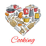 Cooking utensils in heart shape poster Royalty Free Stock Photography