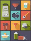 Cooking Utensils icons vector illustration. Vertical flat design illustration with various cooking utensil symbols Royalty Free Stock Images