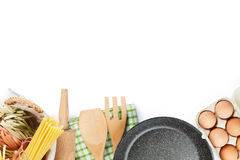 Cooking utensils and ingredients Royalty Free Stock Photography