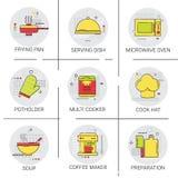 Cooking Utensils Kitchen Equipment Appliances Set Icon Stock Photo