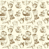 Cooking utensils, kitchenware seamless wallpaper. Cooking utensils seamless hand drawn wallpaper Stock Photography