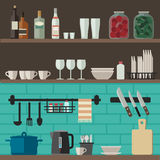 Cooking utensils on shelves. Kitchenware flat icons. Vector illustration of kitchen shelves with cooking utensils Stock Image