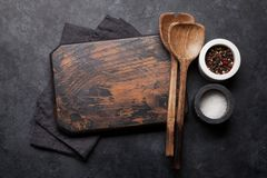 Cooking utensils and spices stock photo