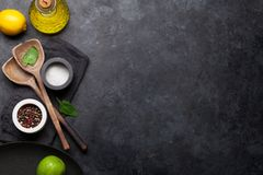 Cooking utensils and spices royalty free stock image