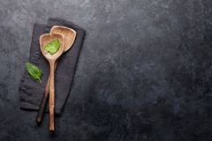 Cooking utensils and spices stock photos