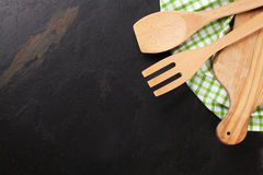 Cooking utensils on stone table Stock Photo