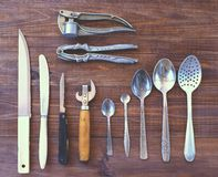 Cooking utensils on the table. Vintage, kitchen background Stock Photos