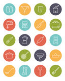 Cooking Utensils Vector Line Icons Collection Stock Image