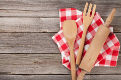 Cooking utensils. On wooden table. Top view with copy space Stock Photo