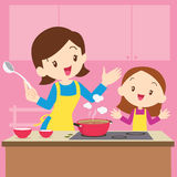 Cooking. Vector Illustration of a mother and daughter cooking vector illustration