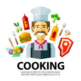 Cooking vector logo design template. fresh food or Stock Photos