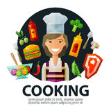 Cooking vector logo design template. fresh food. Happy young woman in hat chef and fresh food. vector. flat illustration Royalty Free Stock Images