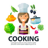 Cooking Vector Logo Design Template. Kitchen Or Royalty Free Stock Photography