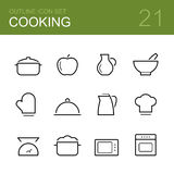 Cooking vector outline icon set Stock Images