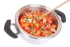 Cooking vegetable soup stock images
