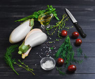 Cooking vegetable vegetarian ragout of white eggplant Royalty Free Stock Photo