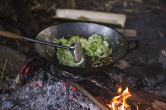 Cooking vegetables and meat in wok pan at camp Royalty Free Stock Photos