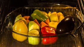 Cooking vegetables in oven stock video footage