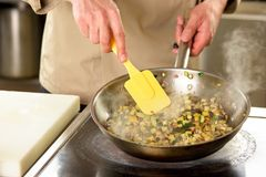 Cooking vegetables in pan using utensil. Cooking diced vegetables in pan using yellow cooking trowel Royalty Free Stock Photo