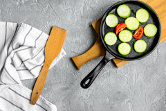 Cooking vegetables on the stone background top view Stock Images