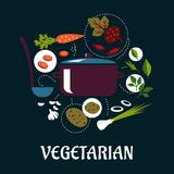 Cooking vegetarian dish flat infographic. Vegetarian dish flat infographic with pan and ladle surrounded fresh potato, carrot, beet, onion, leek, garlic Royalty Free Stock Photography