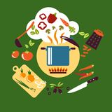Cooking vegetarian food flat design Stock Images